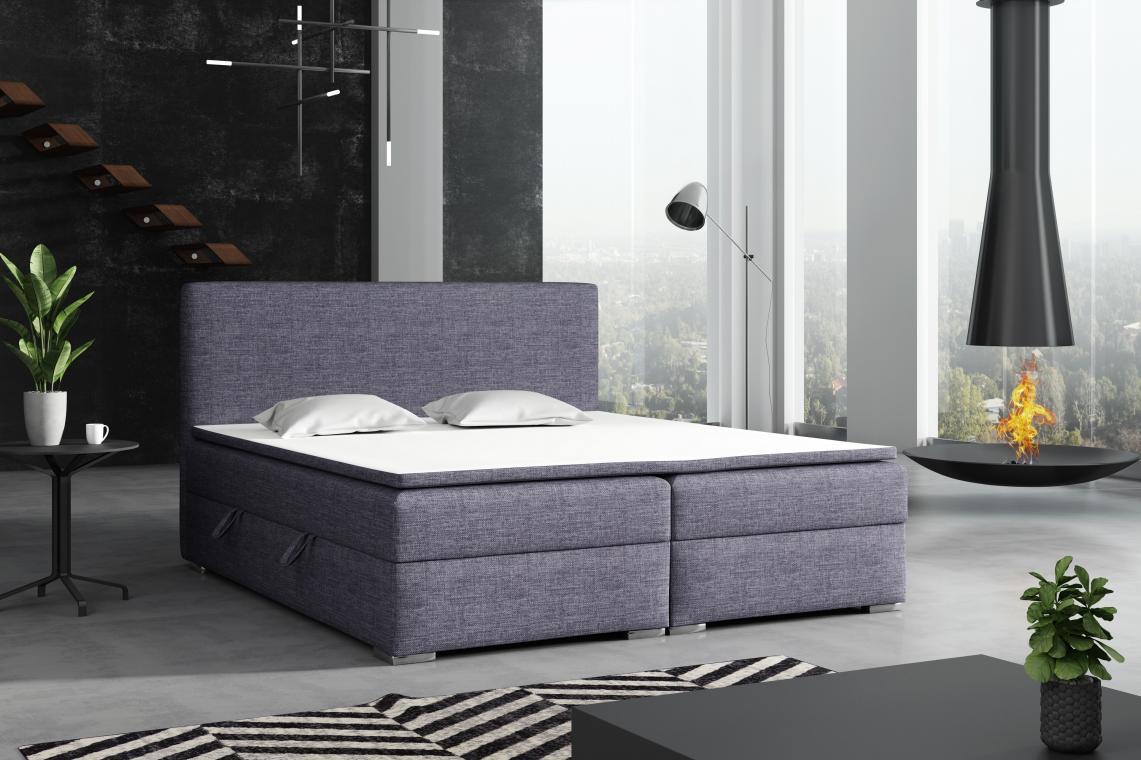 DETROIT kontinentální postel boxspring 160x200 s úložným prostorem