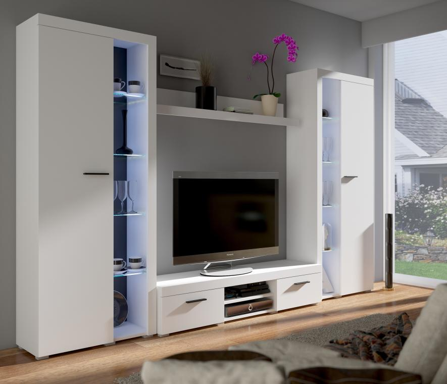 RUMBA XL obývacia stena, biely mat