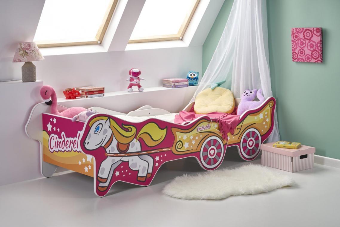 CINDERELLA detská ružová posteľ s nastaviteľnou dĺžkou