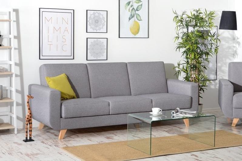 ZARA 3-Sitzer Sofa mit Schlaffunktion, Stauraum und Holzfüßen, skandinavisch