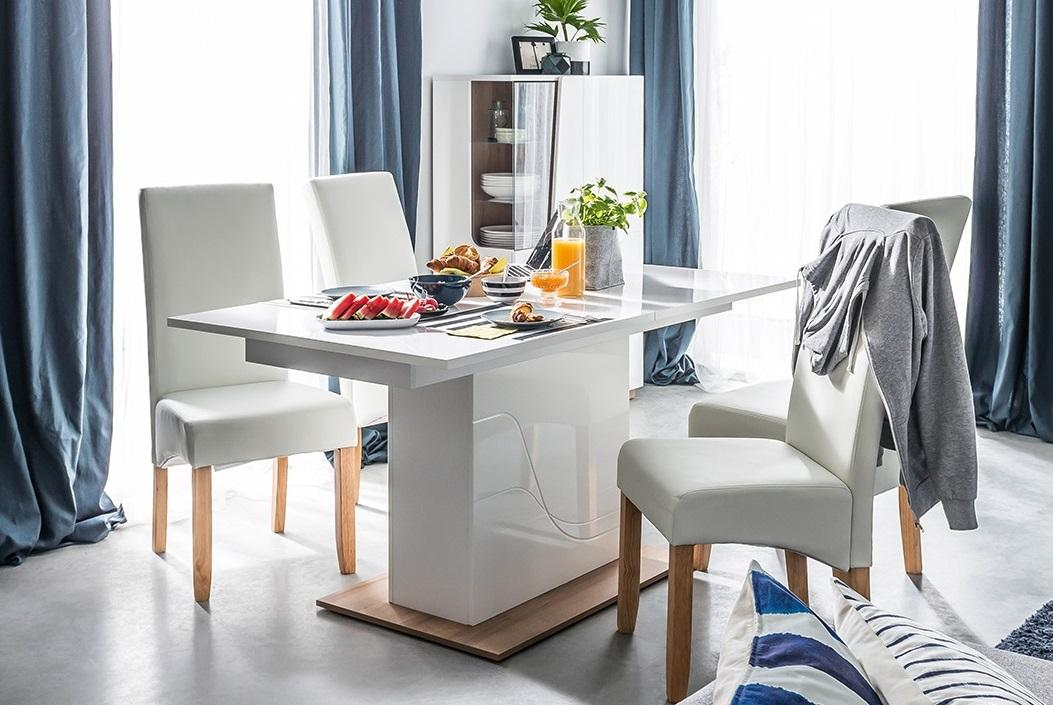 WAVE WA-10 moderní rozkládací jídelní stůl s bílým leskem