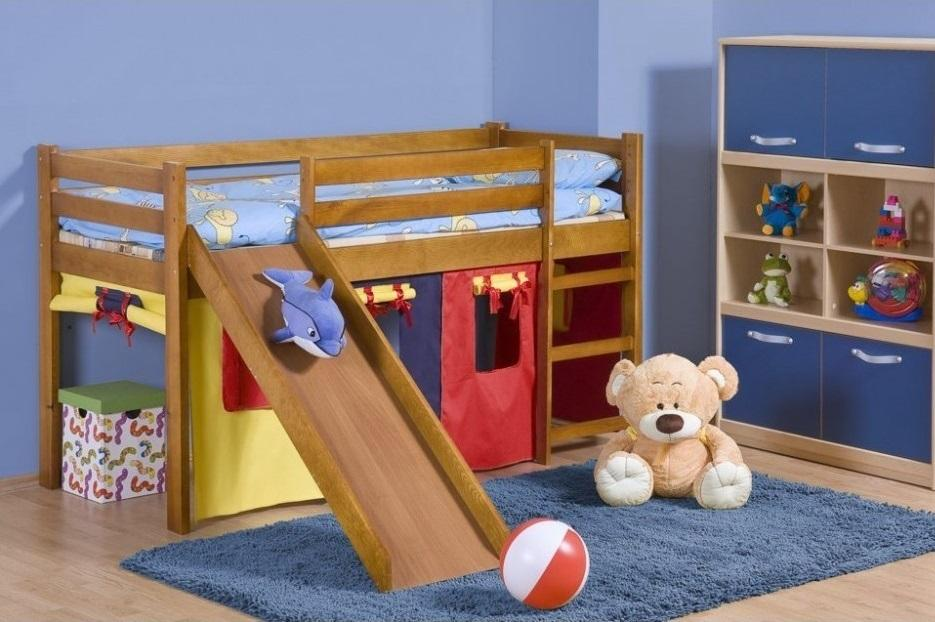 ENJA PLUS detská vyvýšená posteľ so šmýkačkou