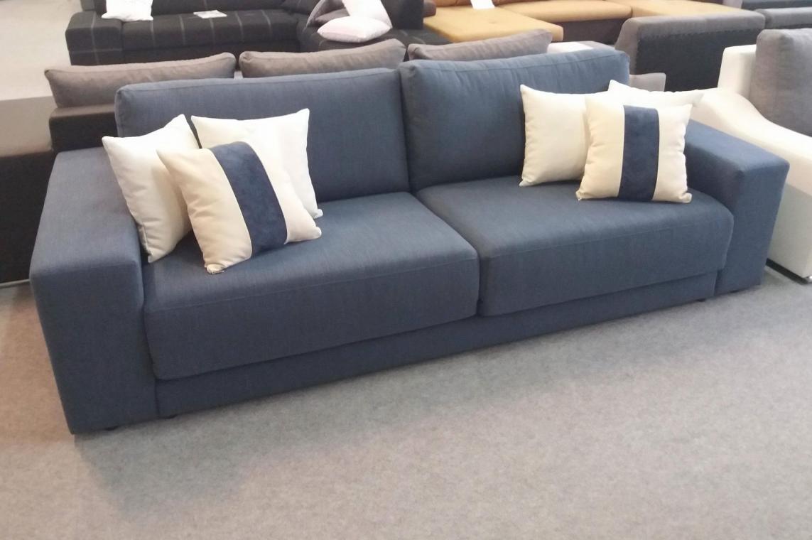 BURTON moderná rozkladacia dvojpohovka, modro sivý poťah | VÝPREDAJ
