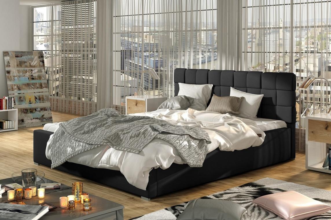 ALFRED II čalúnená posteľ s kovovým roštom a úložným priestorom