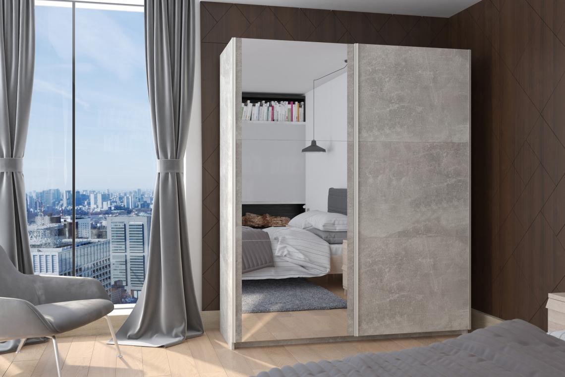 BRICK III moderní šatní skříň se zrcadlem