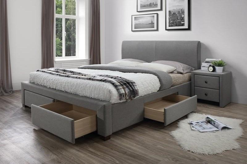 MODENA sivá čalúnená posteľ 160x200 s úložným priestorom