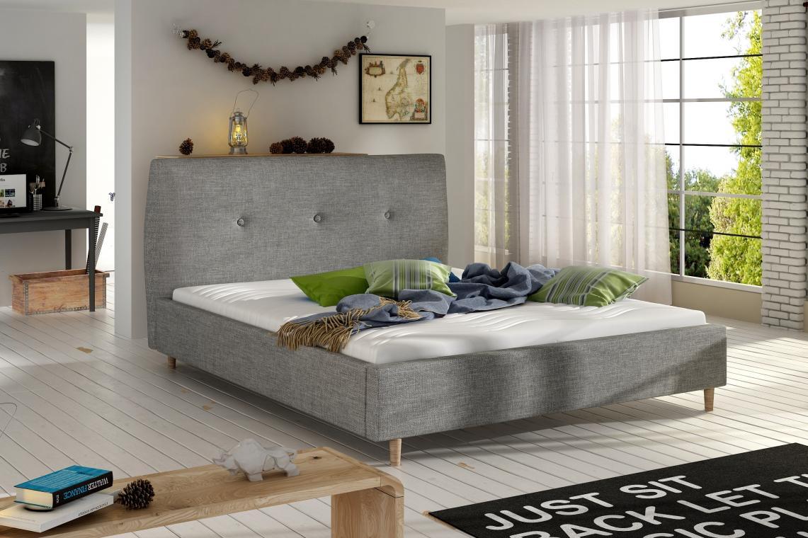 BERIO moderní šedá čalouněná postel | 2 rozměry