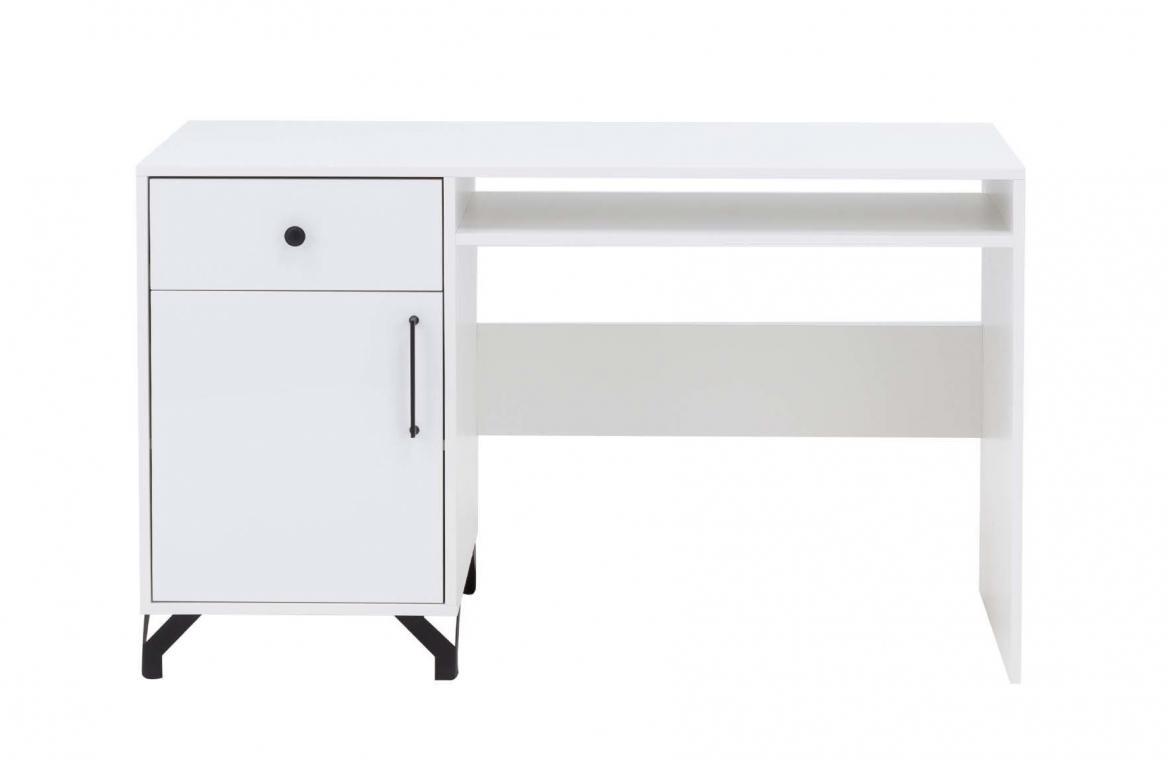 SNOW SN9 bílý psací stůl se skříňkou a zásuvkou