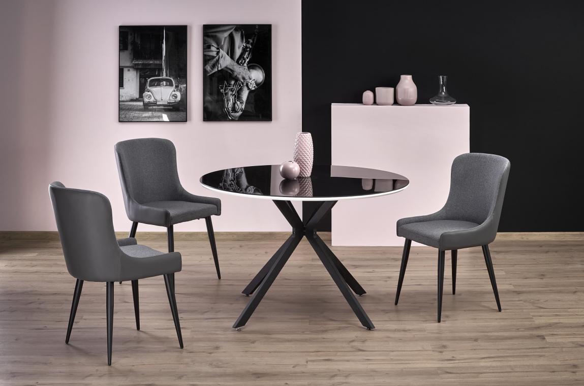 AVELAR okrúhly jedálenský stôl v modernom štýle, čiernobiely