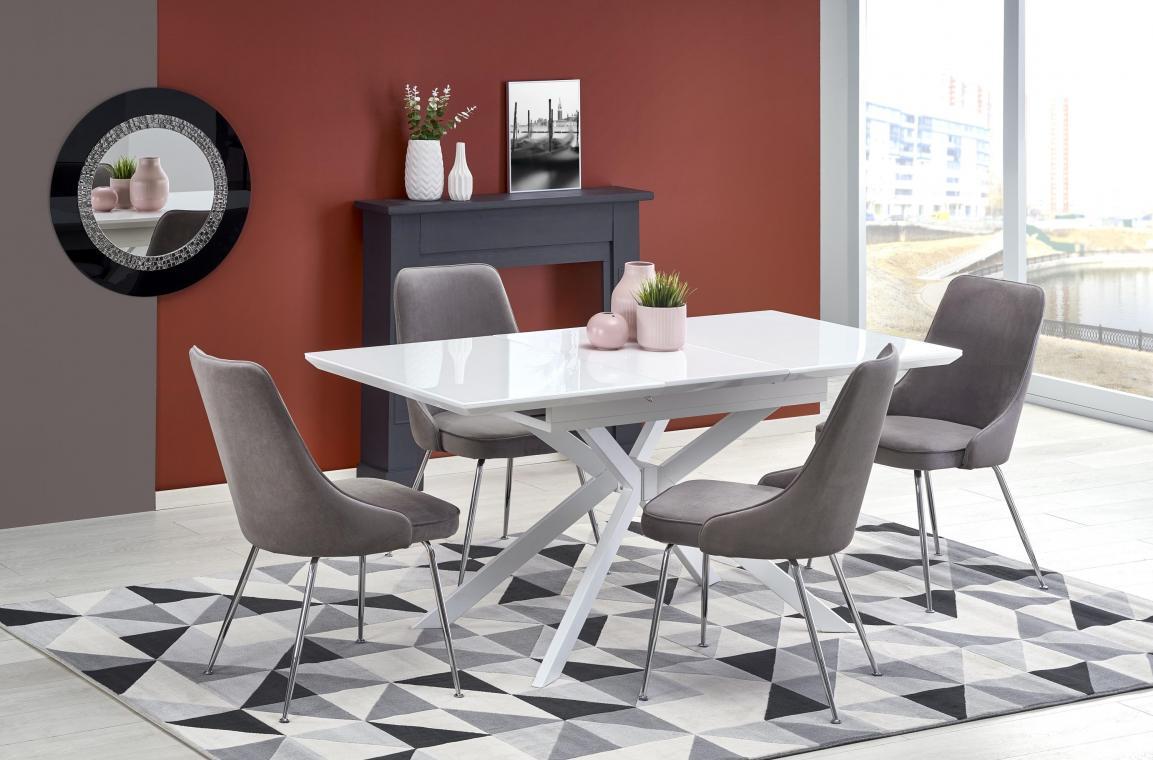 HARPER moderný rozkladací jedálenský stôl 120-160 cm, biely