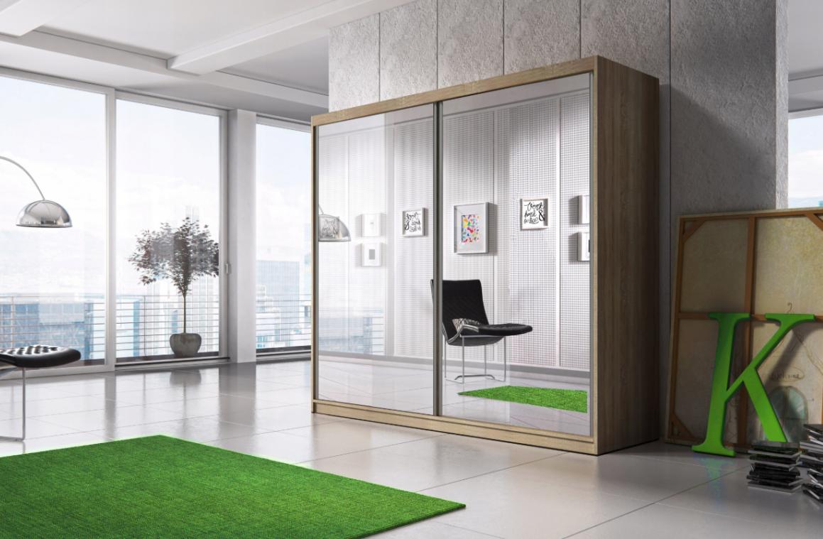 MULTI 20 šatníková skriňa so zrkadlom a posuvnými dverami | 3 dekory