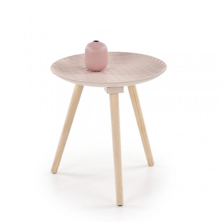 BINGO malý kulatý stůl z masivního dřeva, růžový