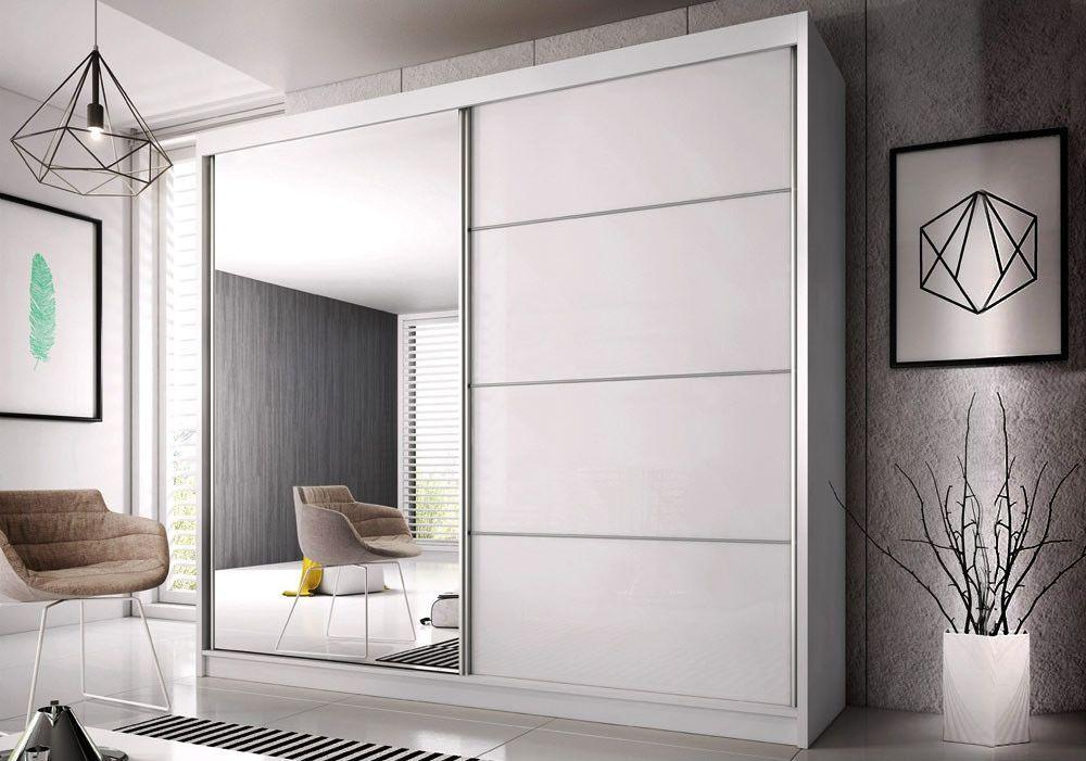 MULTI 31 šatníková skriňa so zrkadlom a posuvnými dverami-biela   3 rozmery