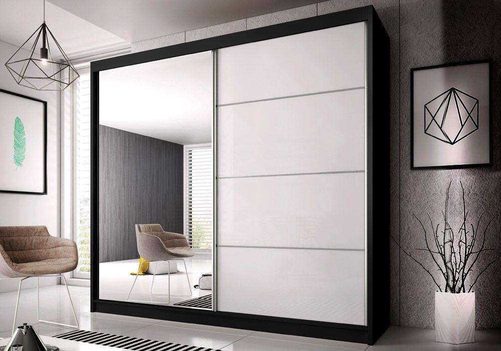 MULTI 31 šatníková skriňa so zrkadlom a posuvnými dverami, čierno-biela| 3 rozmery