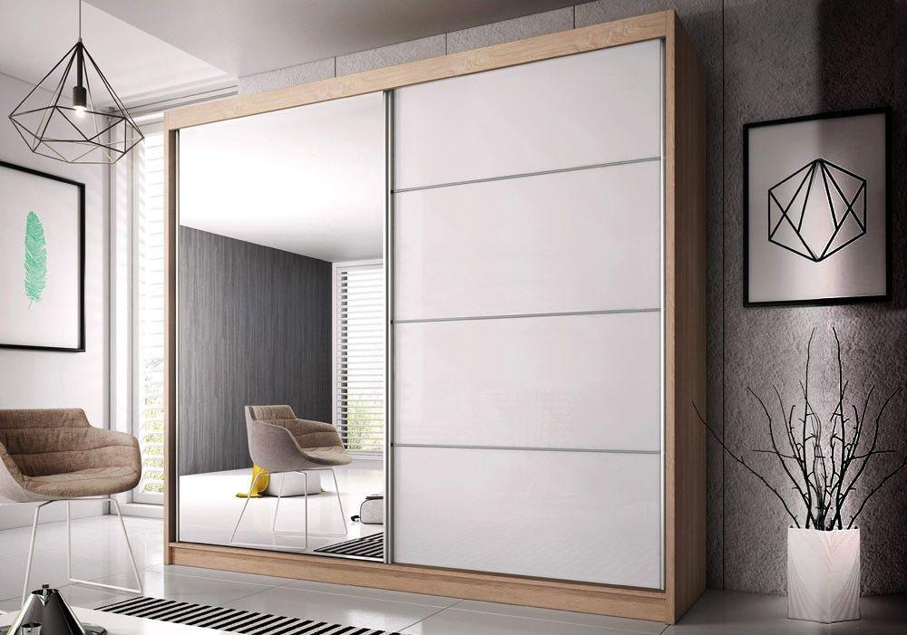MULTI 31 šatníková skriňa so zrkadlom a posuvnými dverami, dub sonoma | 3 rozmery