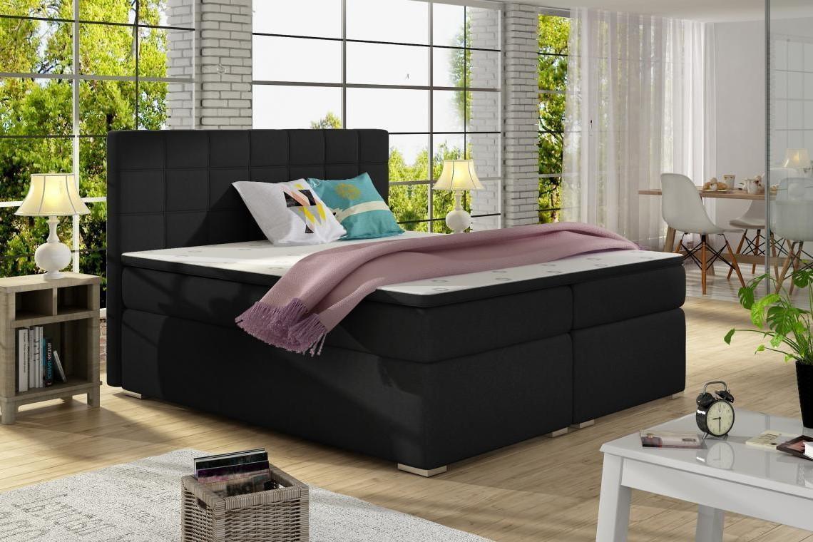 ALICIE 200x200 boxspring posteľ s úložným priestorom, čierná