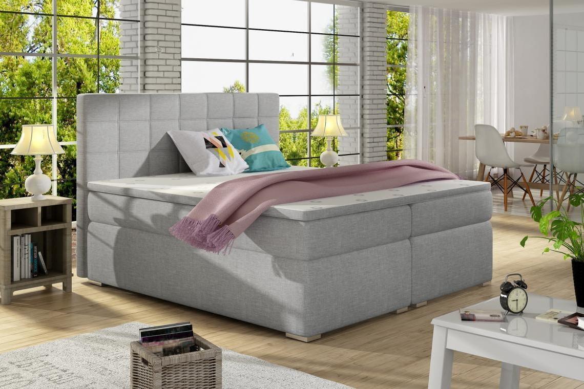 ALICIE 200x200 boxspring posteľ s úložným priestorom, šedá