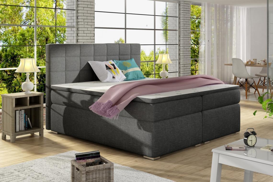 ALICIE 200x200 boxspring posteľ s úložným priestorom, tmavo šedá