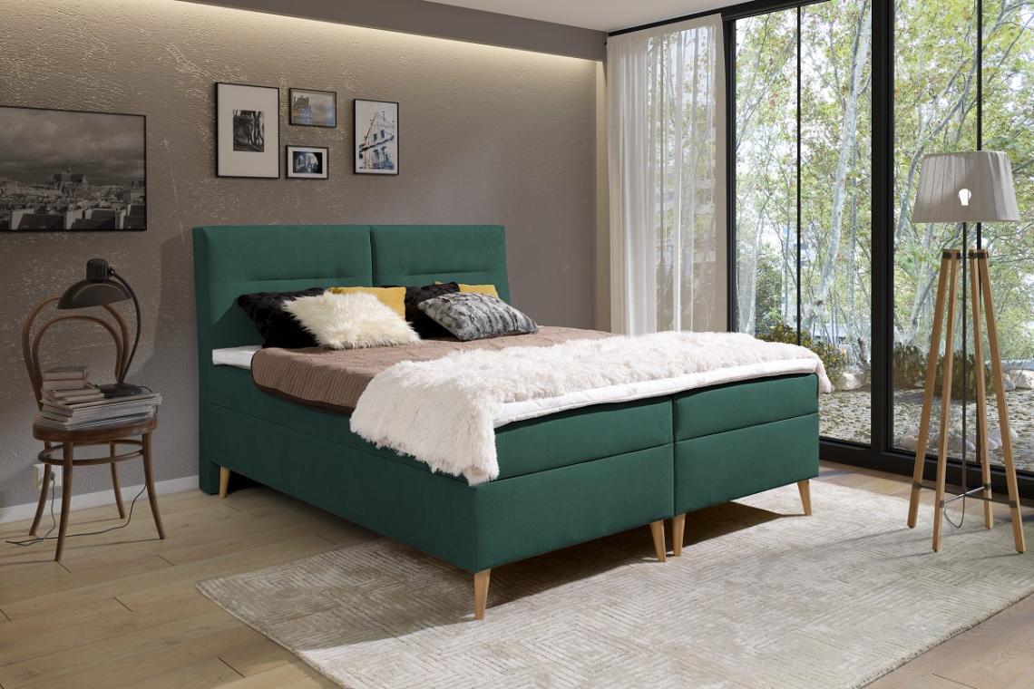 LUIS kontinentální postel boxspring 180x200 s úložným prostorem
