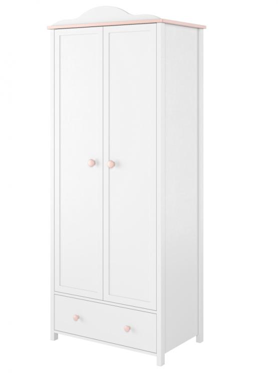 LUNA LN-12 bielo-ružová šatníková skriňa do detskej izby