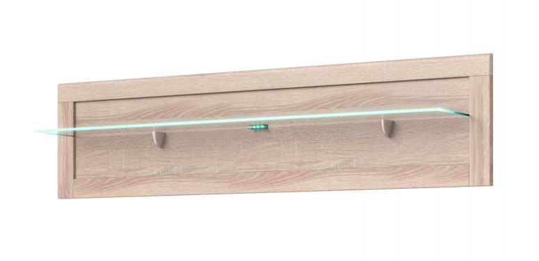 CLEVER sklenená závesná polica v dekore dub sonoma | VÝPREDAJ