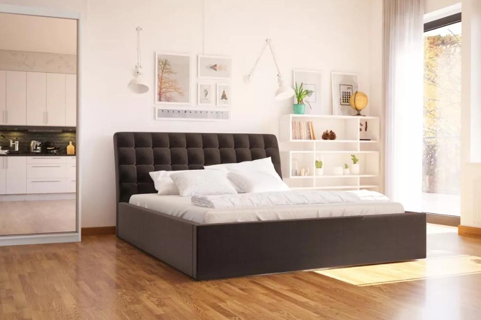 LIZZO čalúnená manželská  posteľ 160x200 s vysokým čelom