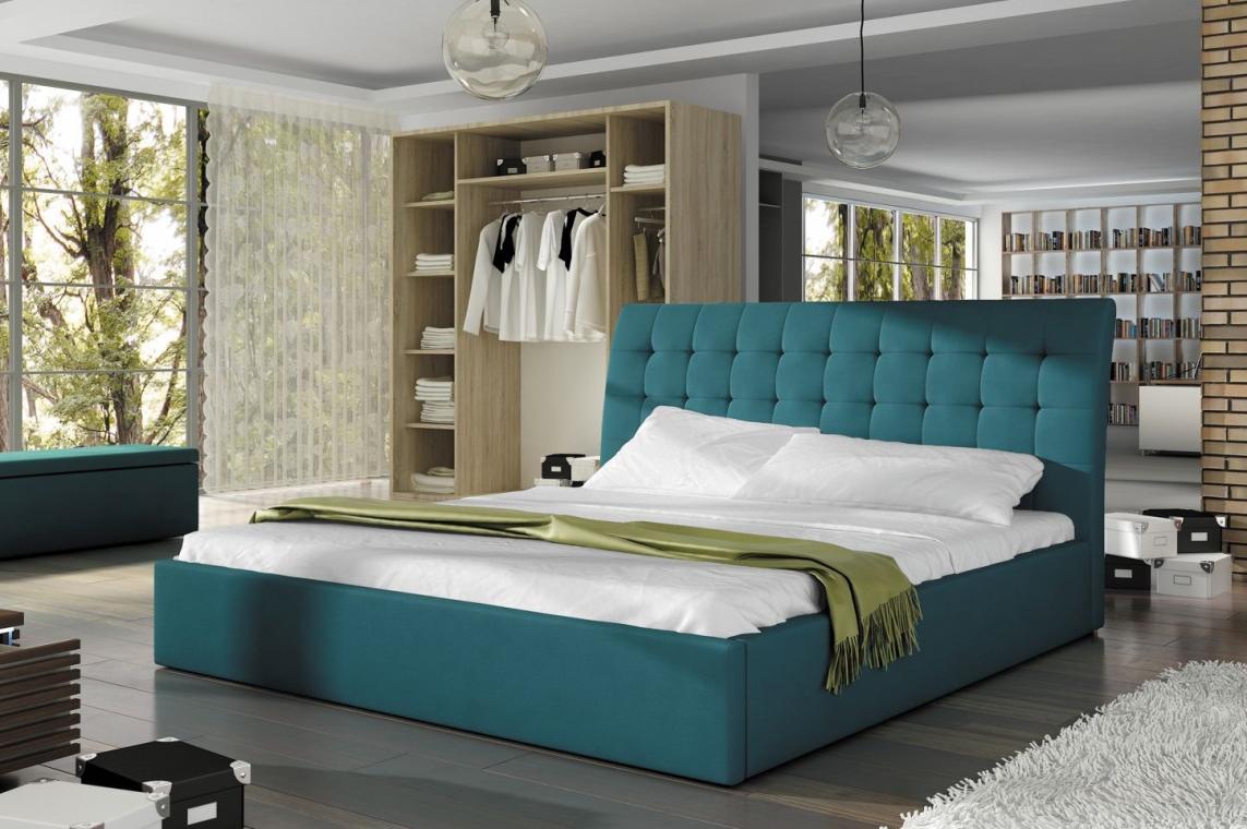 LIZZO čalúnená manželská  posteľ 180x200 s vysokým čelom