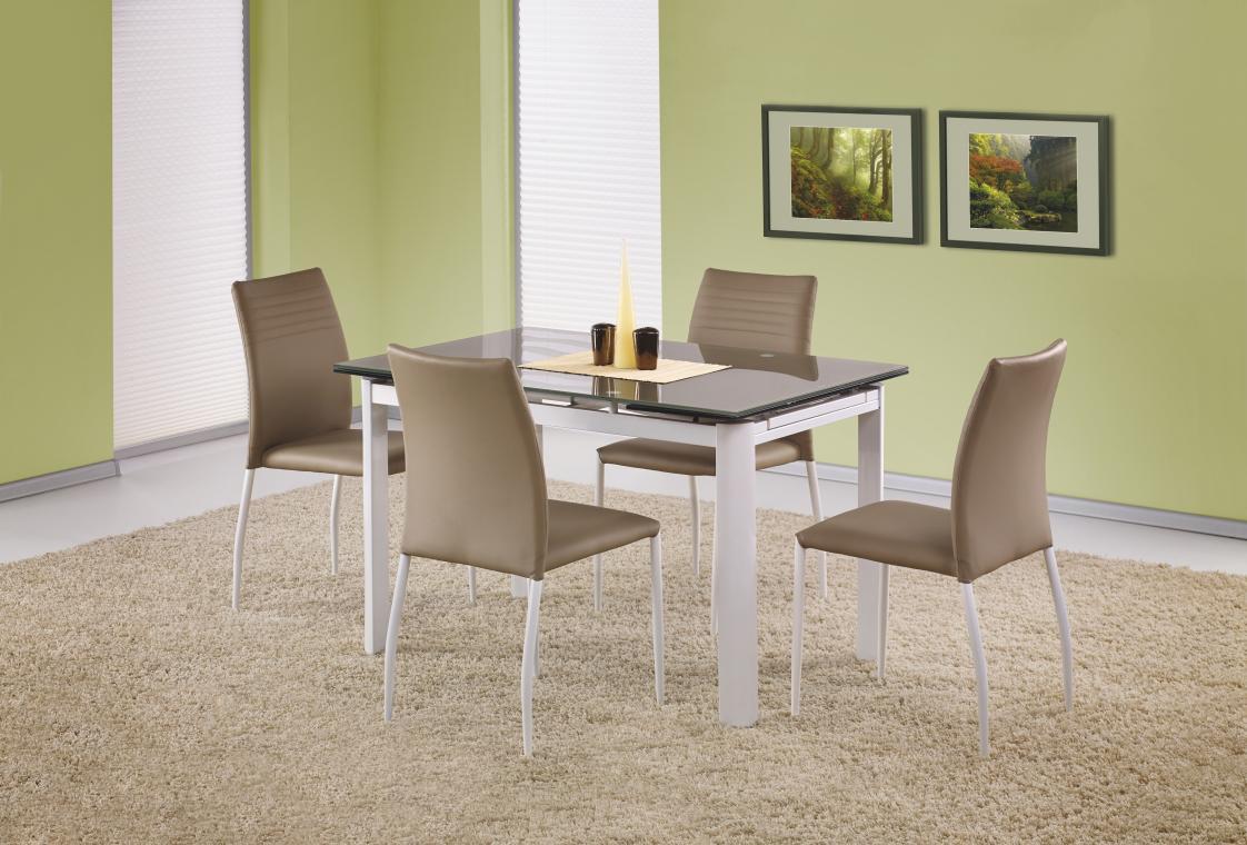 ALSTON rozkládací skleněný jídelní stůl, béžový