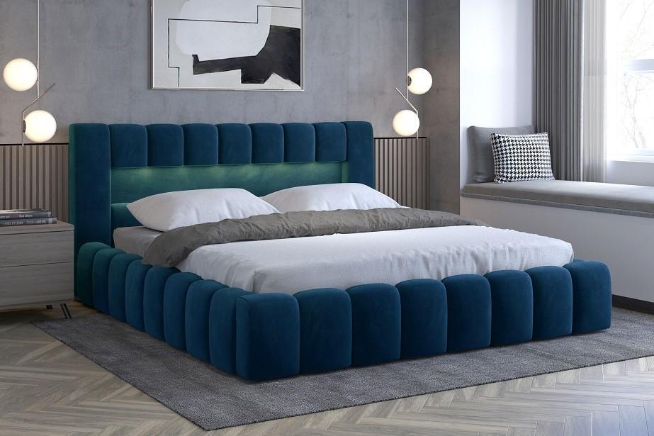 EGON 160x200 elegantná čalúnená posteľ s kovovým roštom