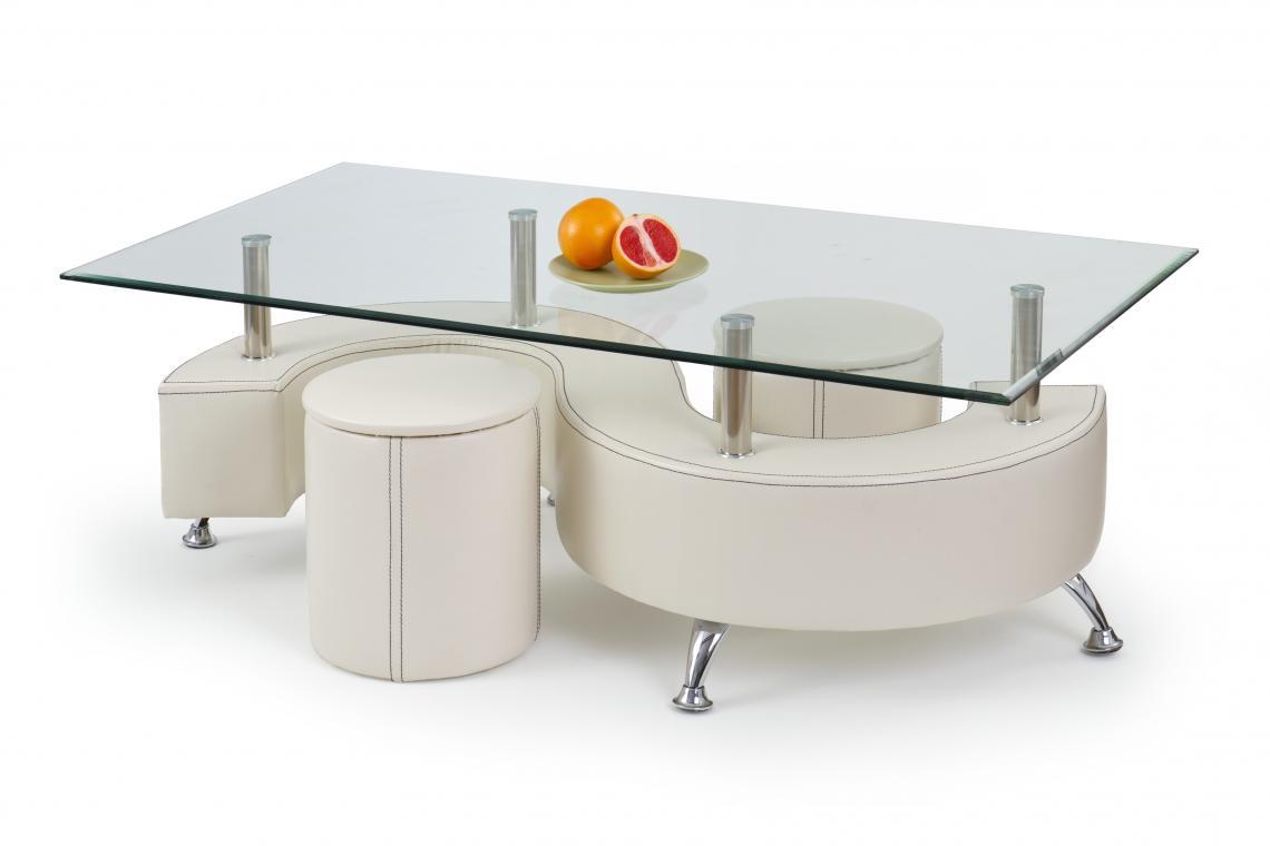 NINA 3 H skleněný konferenční stolek s taburety
