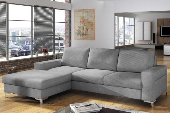 ODETTE sivá rozkladacia sedacia súprava s úložným priestorom | VÝPREDAJ