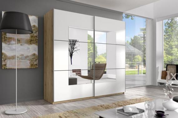 AXEL 5 veľká šatníková skriňa so zrkadlom a posuvnými dverami | 3 rozmery