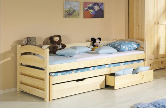 deb08dc0af887 TOLEK detská posteľ z masívu s prístelkou a úložným priestorom