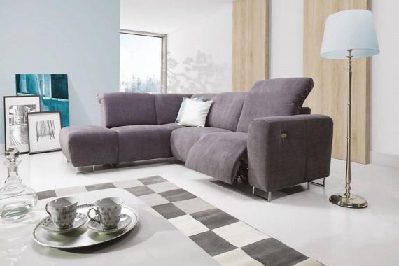 LOTTA Designecksofa mit Stauraum, verstellbaren Kopfstützen und Relaxfunktion - Fußstütze