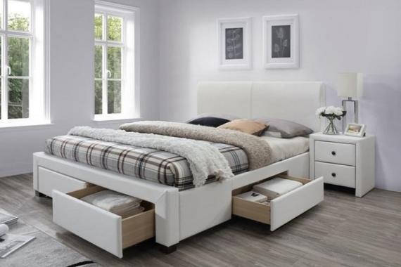 MODENA 2 biela čalúnená posteľ 160x200 s úložným priestorom