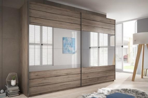 MEDIA 3 velká šatní skříň se zrcadlem a posuvnými dveřmi | víc rozměrů