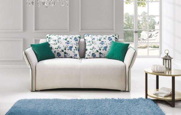 VARIO 2-Sitzer Sofa mit Schlaffunktion, verstellbaren Armlehnen und Floralmotiv