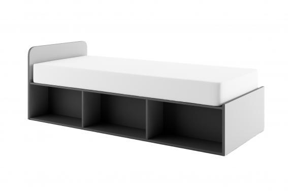 BUMERANG BR-11 sivá detská posteľ s matracom a úložnými priestormi