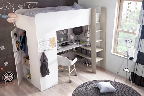TOM vyvýšená detská posteľ s matracom, písacím stolom a skriňou