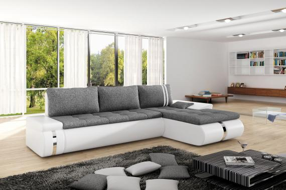 FRANCO Designecksofa mit Schlaffunktion, Stauraum und niedrigen Armlehnen