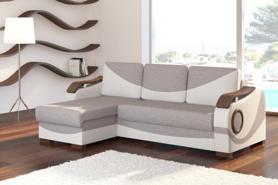 ALBERTO rozkladacia rohová sedačka do obývačky, drevené prvky