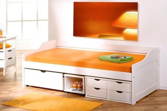 FLORO bílá dětská postel s roštem a úložným prostorem