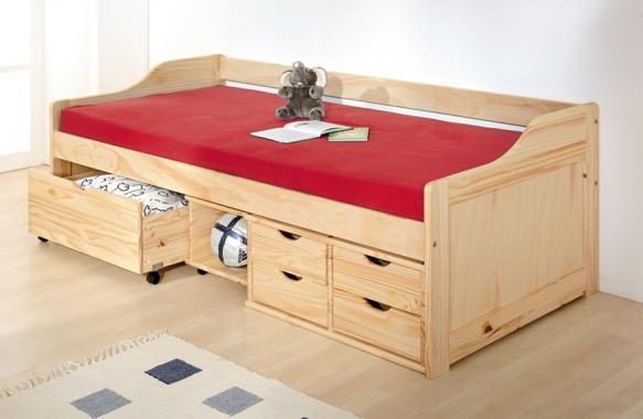 MAXA dřevěná dětská postel s roštem a úložným prostorem