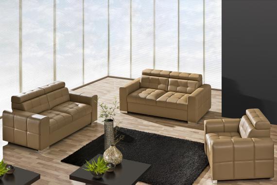 ELIZABET moderní sedací souprava 3+2+1 s polohovatelnými záhlavníky, možnost pravé kůže