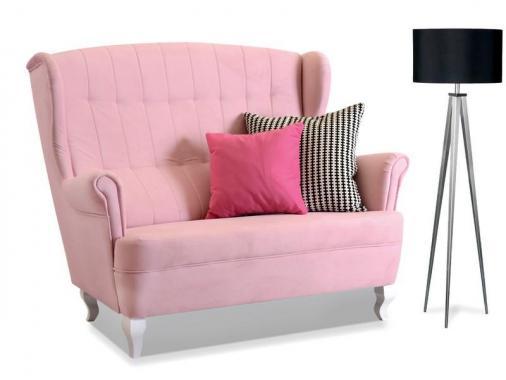 MELISA 2-Sitzer Sofa mit profilierten Holzfüßen, Steppung, vintage Stil