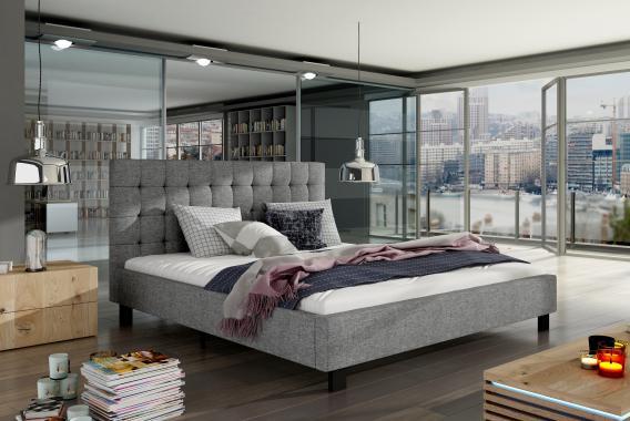 NICOLAI moderní šedá čalouněná postel | 2 rozměry