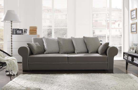 HELEN 3-Sitzer Sofa mit Schlaffunktion, Stauraum, vielen Kissen, Chesterfield-Stil