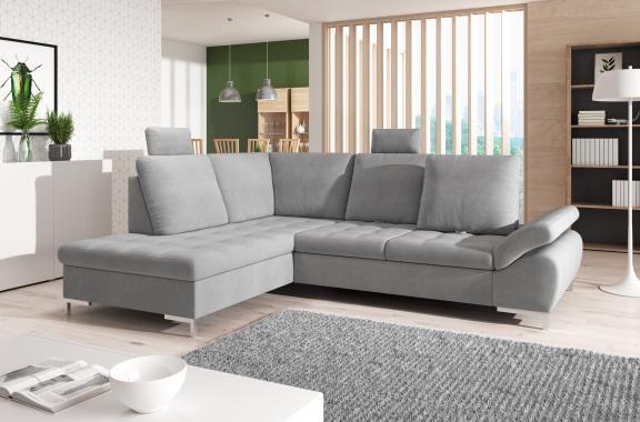 CALEDONIA moderná rohová sedačka s nastaviteľnou hĺbkou sedenia, funkciou rozkladu a úložným priestorom