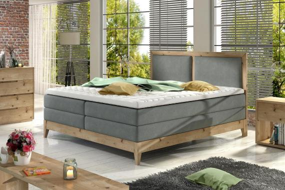 LIGNANO boxspring postel v dřevěném rámu | 3 rozměry