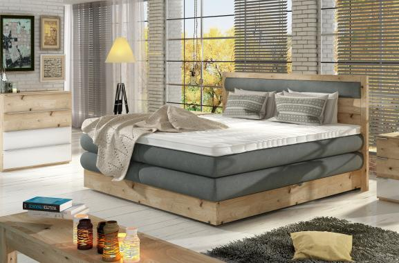 IKARUS boxspring postel v dřevěném rámu s úložným prostorem | 3 rozměry